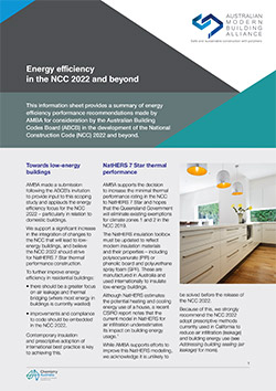 Energy efficiency in the NCC 2022 and beyond